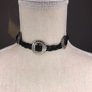 Leather western boho black leather choker necklace